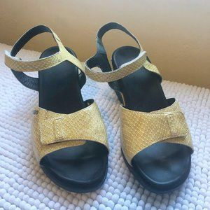 Mephisto Yellow Patent Snake Ankle Strap Wedge